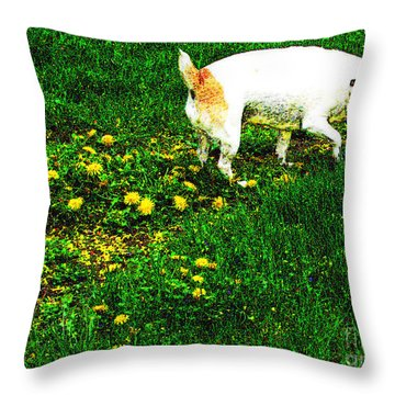 Sniffin The Dandelions Throw Pillow by Minding My  Visions by Adri and Ray