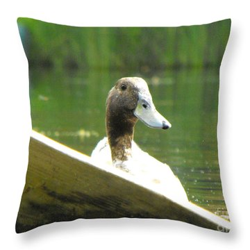 Snooping Duck Throw Pillow