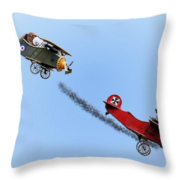Snoopy And The Red Baron Throw Pillow by Kristin Elmquist