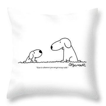 Dog Talks To Puppy About Being Cute Throw Pillow