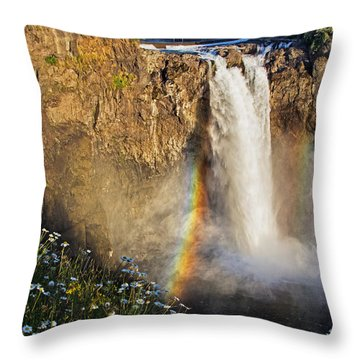 Snoqualmie Falls  Throw Pillow by Sonya Lang