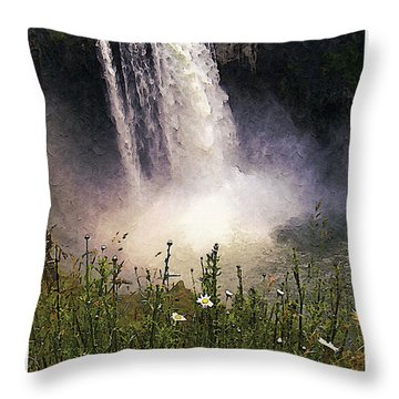 Snoqualmie Falls Wa. Throw Pillow by Kenneth De Tore