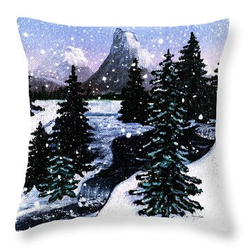 Snow And A Cold Mountain Brook Painterly  Throw Pillow by Barbara Griffin