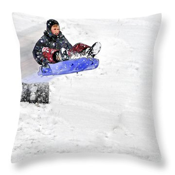 Snow And Kids Throw Pillow by Dan Friend