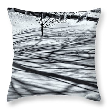 Throw Pillow featuring the photograph Snow And Shadows by Tom Singleton