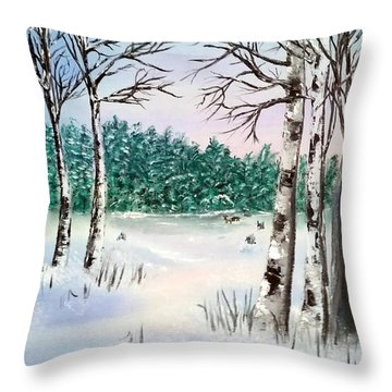 Snow And Trees Throw Pillow
