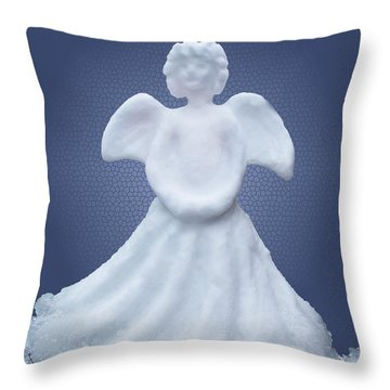 Snow Angel Throw Pillow by Barbara McMahon