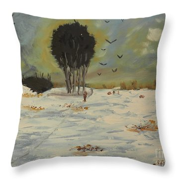 Throw Pillow featuring the painting Snow At Christmas by Pamela  Meredith