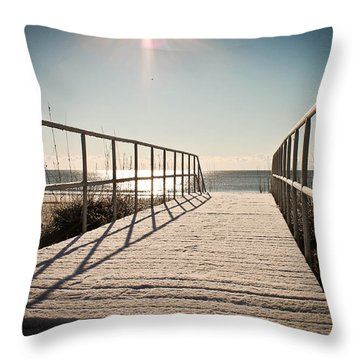 Snow At The Beach Throw Pillow