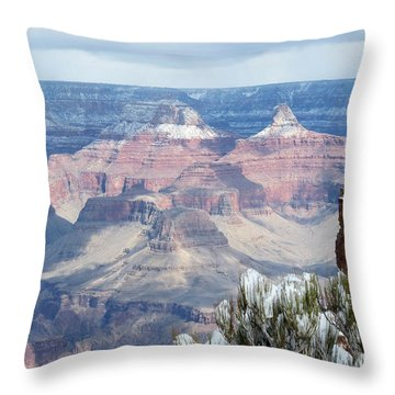Snow At The Grand Canyon Throw Pillow by Laurel Powell