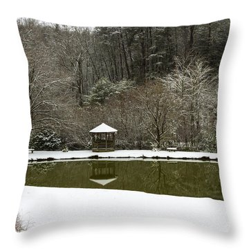 Snow At The Pond Throw Pillow