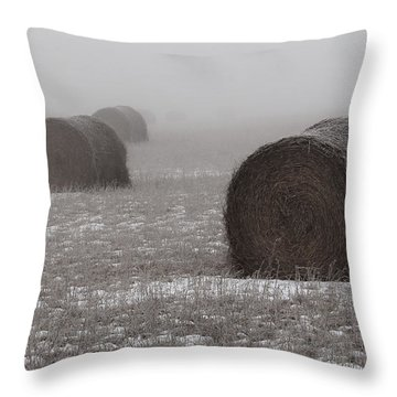 Snow Bales Throw Pillow