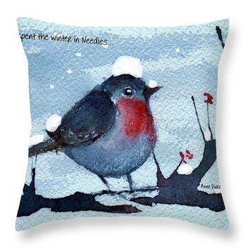 Throw Pillow featuring the painting Snow Bird From Needles by Anne Duke