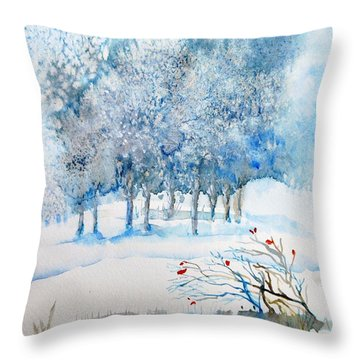 Snow Blizzard In The Grove  Throw Pillow