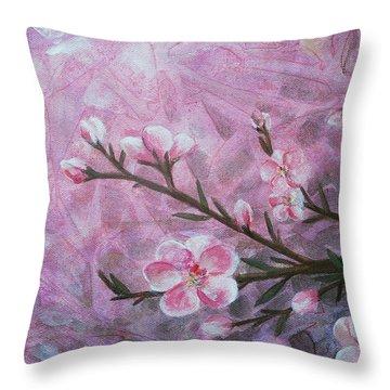 Snow Blossom Throw Pillow by Arlissa Vaughn