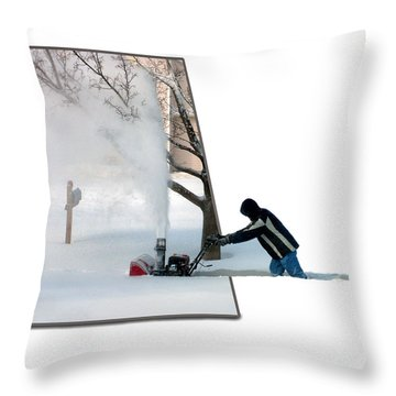Snow Blower Throw Pillow by Thomas Woolworth