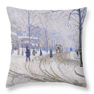 Snow  Boulevard De Clichy  Paris Throw Pillow by Paul Signac