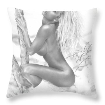 Snow Bunny Throw Pillow by Pete Tapang