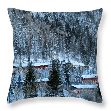 Snow Cabins Throw Pillow