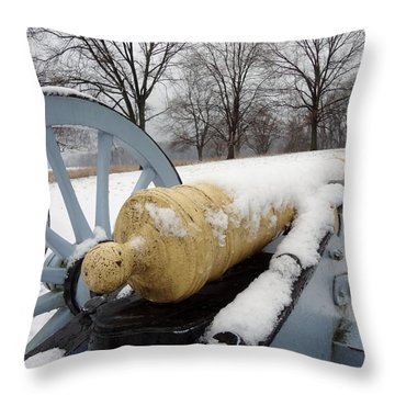 Throw Pillow featuring the photograph Snow Cannon by Michael Porchik