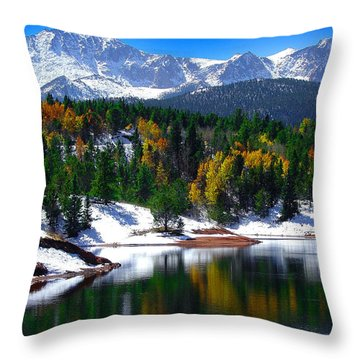 Snow Capped Pikes Peak At Crystal  Throw Pillow by John Hoffman