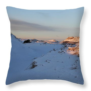 Snow Capped Sand Dunes Throw Pillow