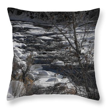 Snow Capped Stream Throw Pillow