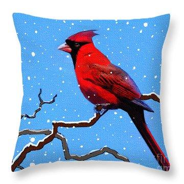 Snow Card Throw Pillow by Robert Foster