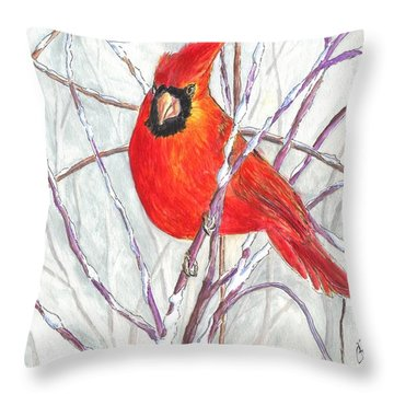 Snow Cardinal Throw Pillow by Carol Wisniewski