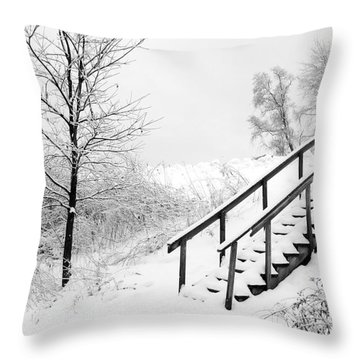 Snow Cover Stairs Throw Pillow