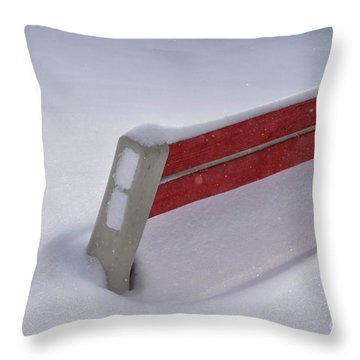 Snow Covered Bench Throw Pillow by Thomas Woolworth