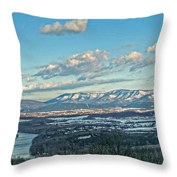 Snow Covered Blue Ridge Throw Pillow by Lara Ellis