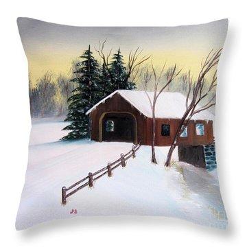 Snow Covered Bridge Throw Pillow by John Burch