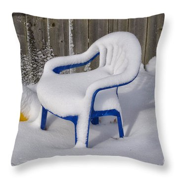 Snow Covered Chair Throw Pillow by Thomas Woolworth