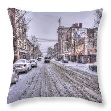 Snow Covered High Street And Cars In Morgantown Throw Pillow by Dan Friend
