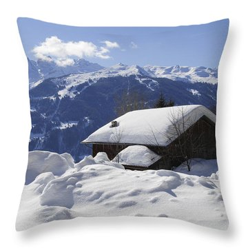 Snow-covered House In The Mountains In Winter Throw Pillow by Matthias Hauser