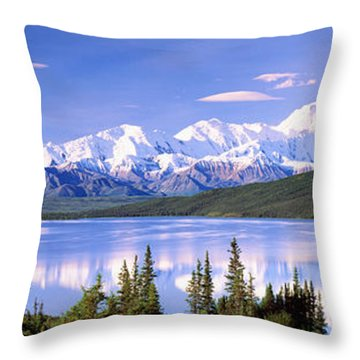 Snow Covered Mountains, Mountain Range Throw Pillow