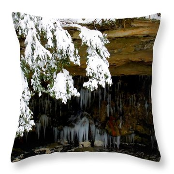 Snow Covered Pine Throw Pillow