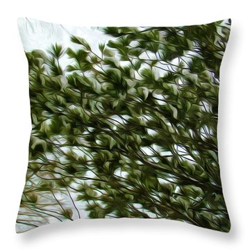Snow Covered Pine Trees Throw Pillow by Lanjee Chee
