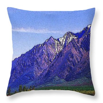 Snow Covered Purple Mountain Peaks Throw Pillow