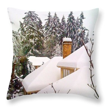 Snow Covered Rooftops - Winter In Lake Oswego Or Throw Pillow by Anna Porter