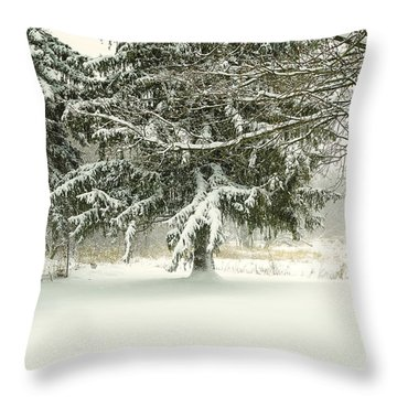 Snow-covered Trees Throw Pillow