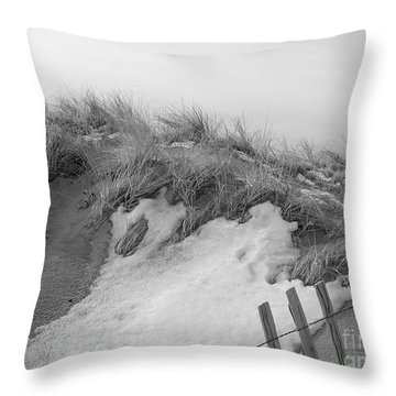 Snow Covered Sand Dunes Throw Pillow