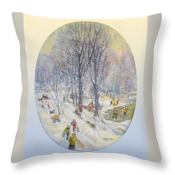 Throw Pillow featuring the painting Snow Day by Donna Tucker