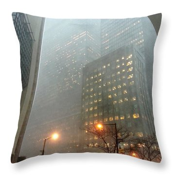 Snow Day On Bay Throw Pillow