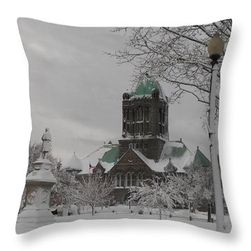 Snow Draped Green Throw Pillow