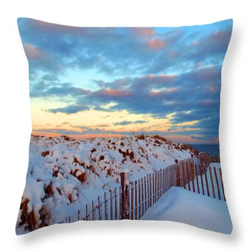 Snow Dunes At Sunrise Throw Pillow by Dianne Cowen