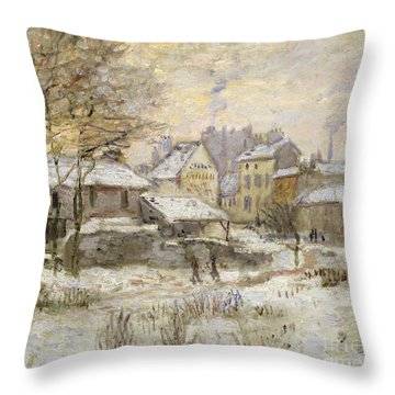 Snow Effect With Setting Sun Throw Pillow by Claude Monet
