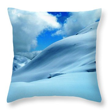 Snow Face In The  Mountain Throw Pillow