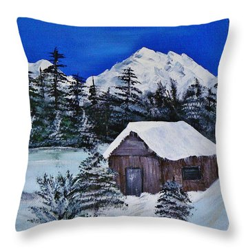 Snow Falling On Cedars Throw Pillow by Barbara St Jean